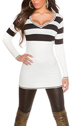 Damen Longpulli Pullover Pulli lang Minikleid Strickkleid Feinstrick 32 34 36 38 White - 1