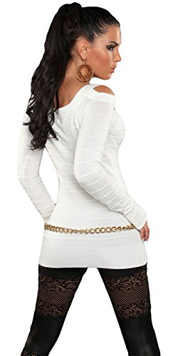 Damen LongPulli Pullover Sweatshirt Sweater LongShirt Weiss - 2