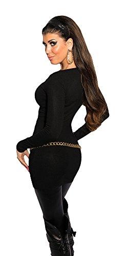 Damen Longpulli Strickkleid Pullover Pulli Feinstrick, Einheitsgröße 34 36 38 Schwarz - 2