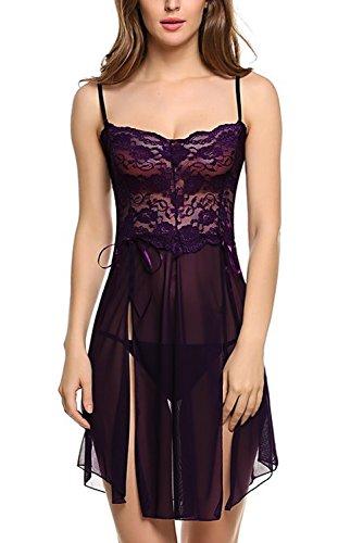 Damen Minikleid Babydoll Dessous Damen Spitzen Nachtkleid Nachthemd Schlafanzuege Schleife Reizvolle Traeger Top Mit G String (Violett) - 2