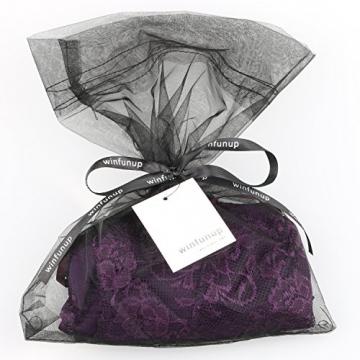 Damen Minikleid Babydoll Dessous Damen Spitzen Nachtkleid Nachthemd Schlafanzuege Schleife Reizvolle Traeger Top Mit G String (Violett) - 5