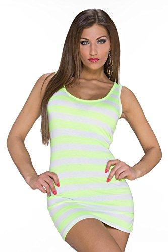 Damen Minikleid Kleid Longtop Longshirt Shirt Träger Streifen Mini Minikleid Partykleid Party Rundhals Weiß-Gelb 34,36,38 -