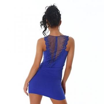 Damen Minikleid Kleid Shirt Longtop Longshirt Spitze Transparent Träger Rundhals Top Mini Cocktailkleid Partykleid 34/36 Blau -