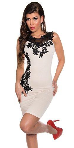 Damen Minikleid Mit Stickereien und tranparenten Einsatz M 38 Beige Partykleid Abendkleid - 1