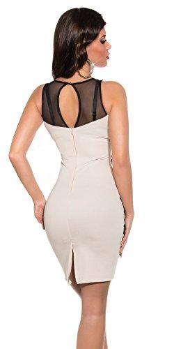 Damen Minikleid Mit Stickereien und tranparenten Einsatz M 38 Beige Partykleid Abendkleid - 2