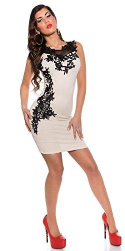 Damen Minikleid Mit Stickereien und tranparenten Einsatz M 38 Beige Partykleid Abendkleid - 3