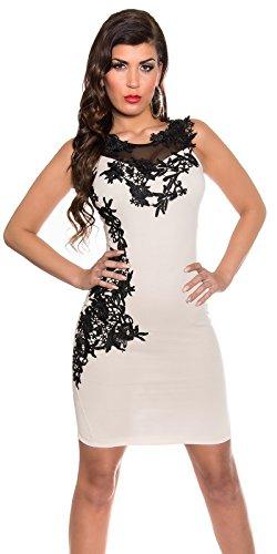 Damen Minikleid Mit Stickereien und tranparenten Einsatz M 38 Beige Partykleid Abendkleid - 4