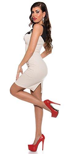 Damen Minikleid Mit Stickereien und tranparenten Einsatz M 38 Beige Partykleid Abendkleid - 5