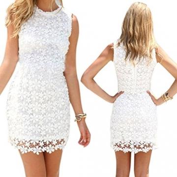 Damen Minikleid Spitze Sommerkleid Ärmellos A-Linie Cocktaikleid Partykleid Strandkleider Weiß -