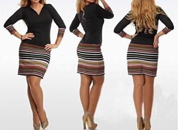 Damen Minikleid T-Shirts Kleider Freizeitkleid Blusenkleider Wickeloptik Minirock Herbst Tief V Ausschnitt 3/9-Arm Sommerkleid Casual Gestreift -