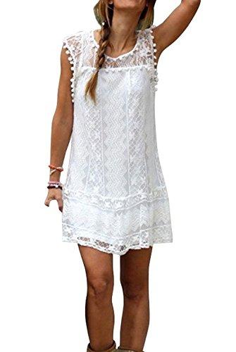 Damen Minikleider Rundhals Ausschnitt Ärmellos Partei Ballkleid Spitze Hohl Kleid Sommerkleid Blusen Tunika (EU36-M) -