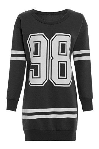 Damen Neu York Brooklyn 98 Stier 69 Überdimensional Minikleid Lang Pullover - 98 Aufdruck Dunkelgrau, 36/38 - 1
