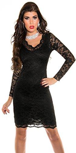 Damen Partykleid mit V Ausschnitt und Spitze (S/36 ( 10 )) -