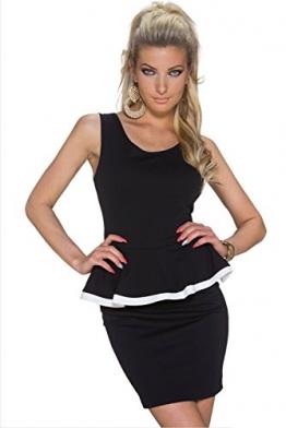 Damen Peplum ärmellos schwarz Mini-Kleid mit offener Rückseite Clubwear Summer Evening Party-Kleid mit Schößchen 12, Größe M -