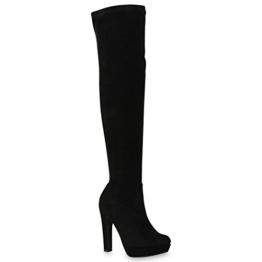 Damen Plateau Overknees | Stiefel | Stiletto High Heels | Langschaftstiefel Wildlederoptik | Plateauschuhe | Flandell®, Schwarz Braun, 37 EU - 1