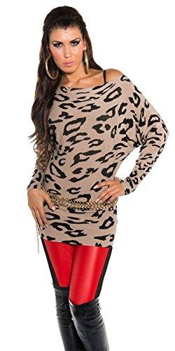 Damen Pulli Pullover Fledermaus-Look Longshirt Sweatshirt Sweater 34 36 38 40 Cappuccino - 1