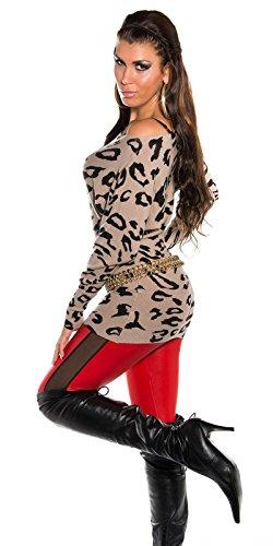 Damen Pulli Pullover Fledermaus-Look Longshirt Sweatshirt Sweater 34 36 38 40 Cappuccino - 3