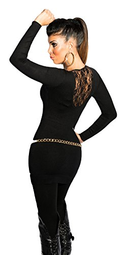 Damen Pullover Pulli Minikleid Sweater Strick Langarm Farbe 36 38 40 Schwarz - 2