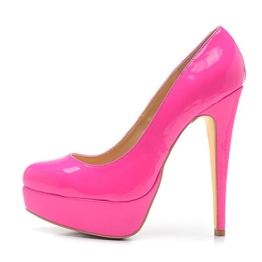 Damen Pumps Lackleder High-Heels Stiletto mit Plateau Rutsch Pink EU38 - 1