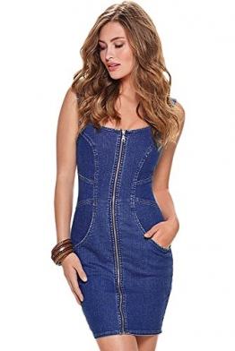 Damen Reißverschluss vorne ärmellose Jeanskleid Medium -