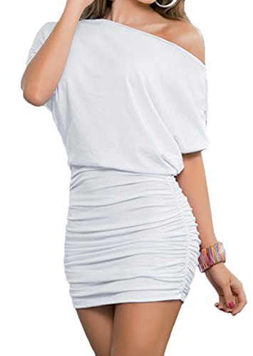 Damen Reizvollen Herbst Langarm Etuikleider Einfarbig Minikleid Schräg Schulter Cocktailkleid Paket-Hüfte-kleid Schrittrock Bleistiftrock (EU36(S), Weiß) -