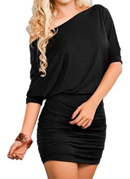 Damen Reizvollen Herbst Langarm Etuikleider Einfarbig Minikleid Schräg Schulter Cocktailkleid Paket-Hüfte-kleid Schrittrock Bleistiftrock (EU36(S), Schwarz) -