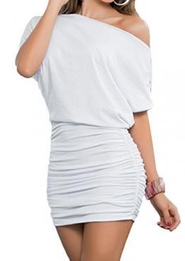 Damen Reizvollen Herbst Langarm Etuikleider Einfarbig Minikleid Schräg Schulter Cocktailkleid Paket-Hüfte-kleid Schrittrock Bleistiftrock (EU44(XXL), Weiß) -