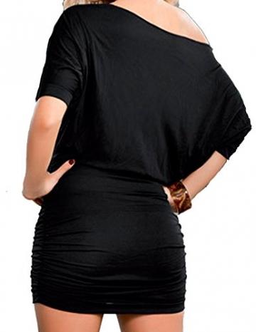 Damen Reizvollen Herbst Langarm Etuikleider Einfarbig Minikleid Schräg Schulter Cocktailkleid Paket-Hüfte-kleid Schrittrock Bleistiftrock (EU42(XL), Schwarz) -