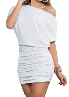Damen Reizvollen Herbst Langarm Etuikleider Einfarbig Minikleid Schräg Schulter Cocktailkleid Paket-Hüfte-kleid Schrittrock Bleistiftrock (EU38(M), Weiß) -