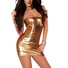 Damen Reizwäsche,URSING Dessous Frauen Wetlook Sexy Minikleid Off-Schulter Ärmelloses Kleid Stretch Clubwear Verführerischer Stripperkleid Fetisch Party Dress Leather Pole Dance Bodycon (Gold) - 1