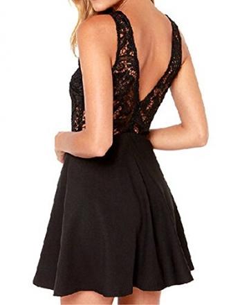 Damen Rüchenfreies Spitzenkleid Sleevelss Sommer Strand Mini Kurze Kleider ärmellos Ballkleid Cocktailkleid Abendkleider Partykleid (S) -