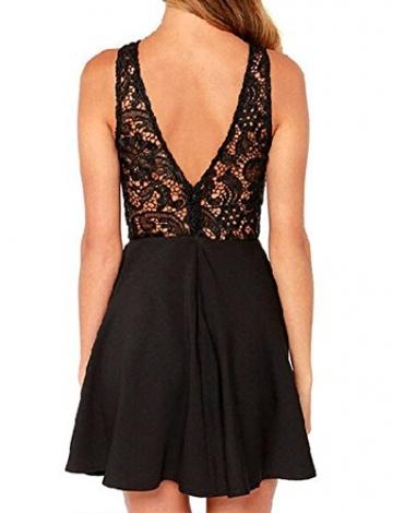 Damen Rüchenfreies Spitzenkleid Sleevelss Sommer Strand Mini Kurze Kleider ärmellos Ballkleid Cocktailkleid Abendkleider Partykleid (XL) -