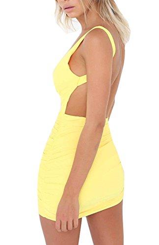 Damen Rückenfrei Ärmellos Partykleid Etuikleid Mini Kurze Abendkleider Bodycon Sommerkleid (L, Gelb) - 1
