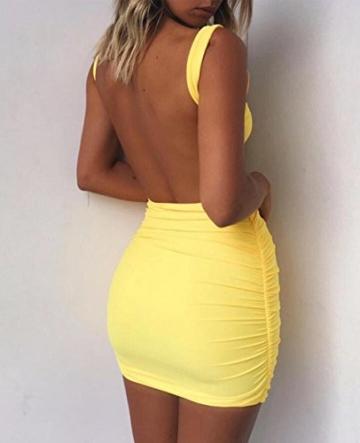 Damen Rückenfrei Ärmellos Partykleid Etuikleid Mini Kurze Abendkleider Bodycon Sommerkleid (L, Gelb) - 4