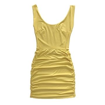 Damen Rückenfrei Ärmellos Partykleid Etuikleid Mini Kurze Abendkleider Bodycon Sommerkleid (L, Gelb) - 5