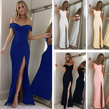 Damen Rückenfrei Cocktail Kleid Rosennie Frauen Sommer Reizvolle Elegant Formale Lange Ballkleid Party Prom Kleid Stitching Abschlussball Lässig Rückenfrei Brautjungfer Abend Maxikleid (S, Rosa) - 2