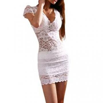 Damen Schlank Clubwear Spitzekleid Abendklied Cocktailkleid Partykleid Weiss - 1