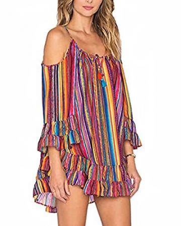 Damen Schulterfrei Partykleider Vintage Cocktailkleider mit Regenbogen Streifen Chiffon Mini Bunt Kleid (M) -