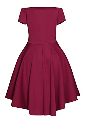 Damen Schulterfreies Kleid Skaterkleid Kurz Cocktailkleid Abenkleid Festlich Partykleid (36 S (FBA), rot) -