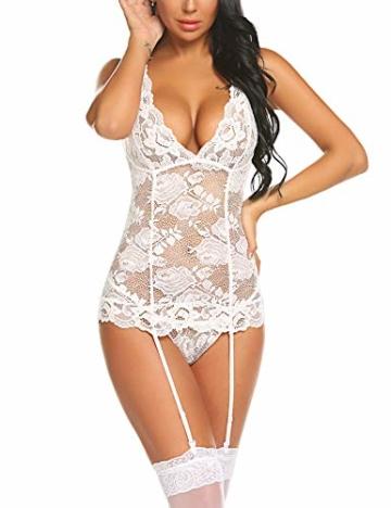Damen Sexy Body Dessous Reizwäsche Spitze Erotik Unterwäsche Strapsen Bodysuit Negligee Nachtwäsche Lingerie Babydoll Nachthemd mit Strumpfband - 6