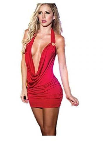 Damen Sexy Dessous Reizwäsche Nachtclubs Overall Babydoll (Rote) -
