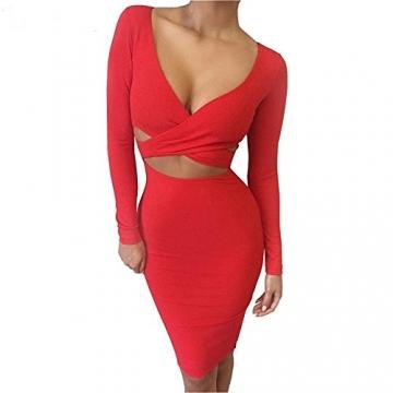 Damen Sexy V Ausschnitt Cut-Out Bandage Figurbetontes Knielang Abend Party Cocktailkleid Clubwear Langarm Bodycon Kleid Rot DE 34 -