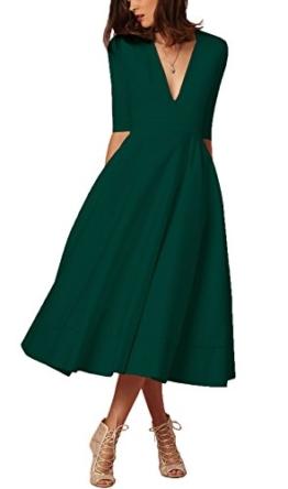 Damen sexy v-Ausschnitt Partykleid Abendkleider Cocktailkleid Elegant 1/2 arm Casual klassischer Stil Kleid lang-DGL - 1