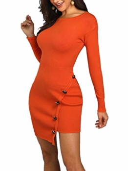 Damen Solid Button Design Slit Bodycon Mini Kleid (Small, Z-Orange) - 1