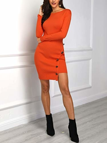 Damen Solid Button Design Slit Bodycon Mini Kleid (Small, Z-Orange) - 3
