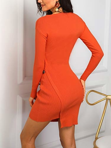 Damen Solid Button Design Slit Bodycon Mini Kleid (Small, Z-Orange) - 4