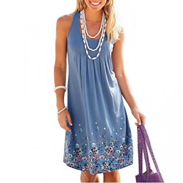 Damen Sommer Kleid ärmellos Drucken Kleid A-Linie Knielang Strandkleid Casual Lose Sommerkleid -