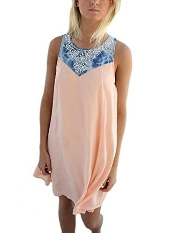 Damen Sommerkleid A-Linie Kurz Ärmellos Elegant Strandkleider Kleid Rock Partykleid Cocktaikleid (m) -