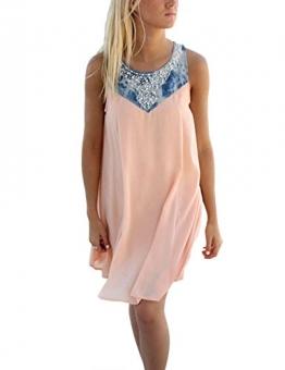 Damen Sommerkleid A-Linie Kurz Ärmellos Elegant Strandkleider Kleid Rock Partykleid Cocktaikleid (S) -