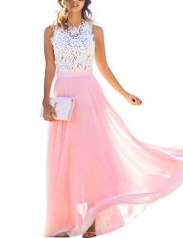 Damen Sommerkleid Lang Chiffon High Waist Sleeveless Beach Kleid Lace Partykleid Elegant Strand Spitze Maxikleid (XXL, Rosa) -